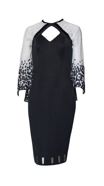 Black and white Raven Capelet Dress by Leetal Platt | Nineteenth Amendment