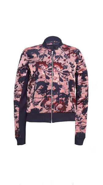 Red Rai Jacquard Bomber Jacket by VARYFORM | Nineteenth Amendment