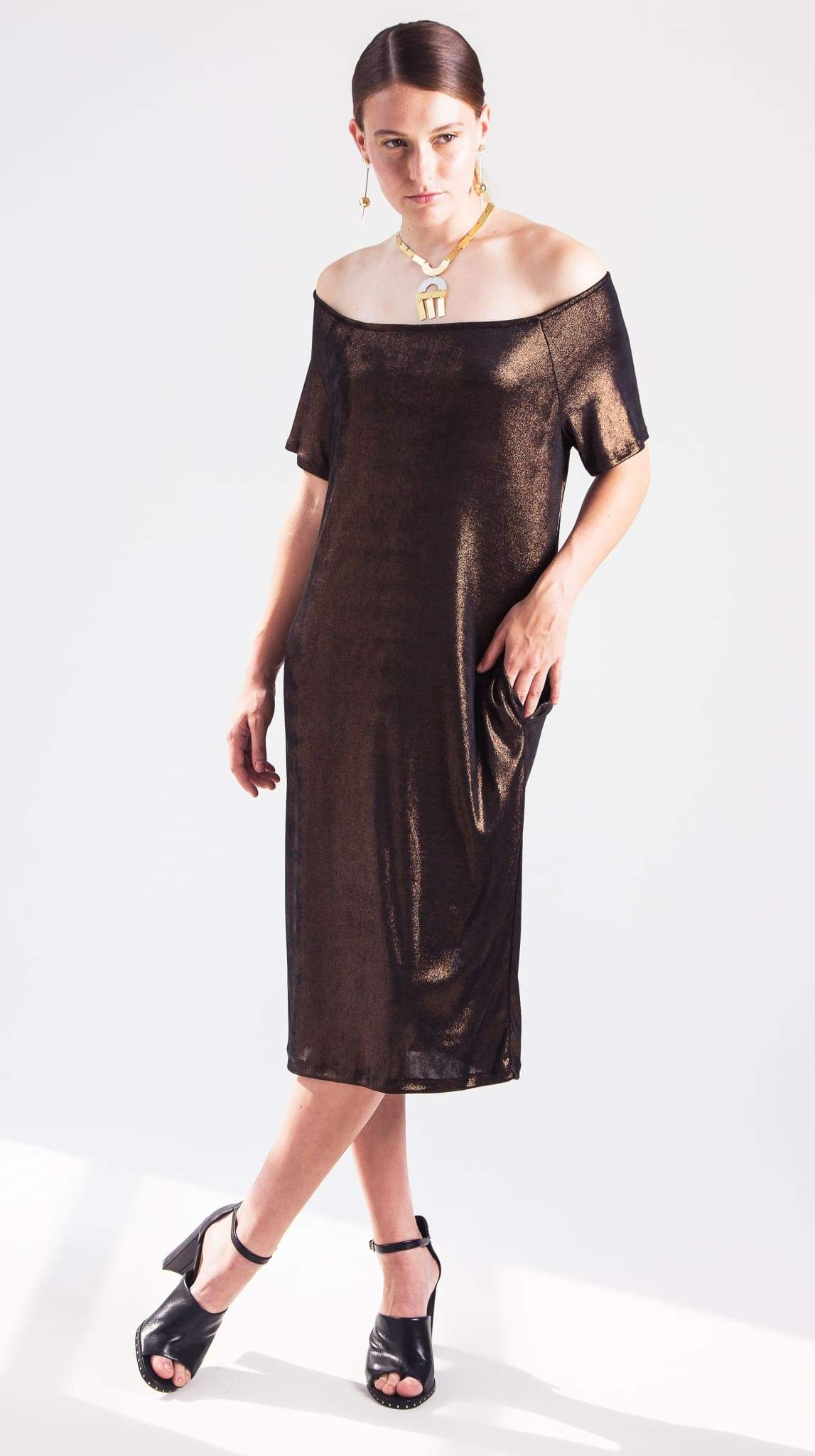 Bronze Rhea Raglan Sleeve Dress front by VARYFORM for Nineteenth Amendment