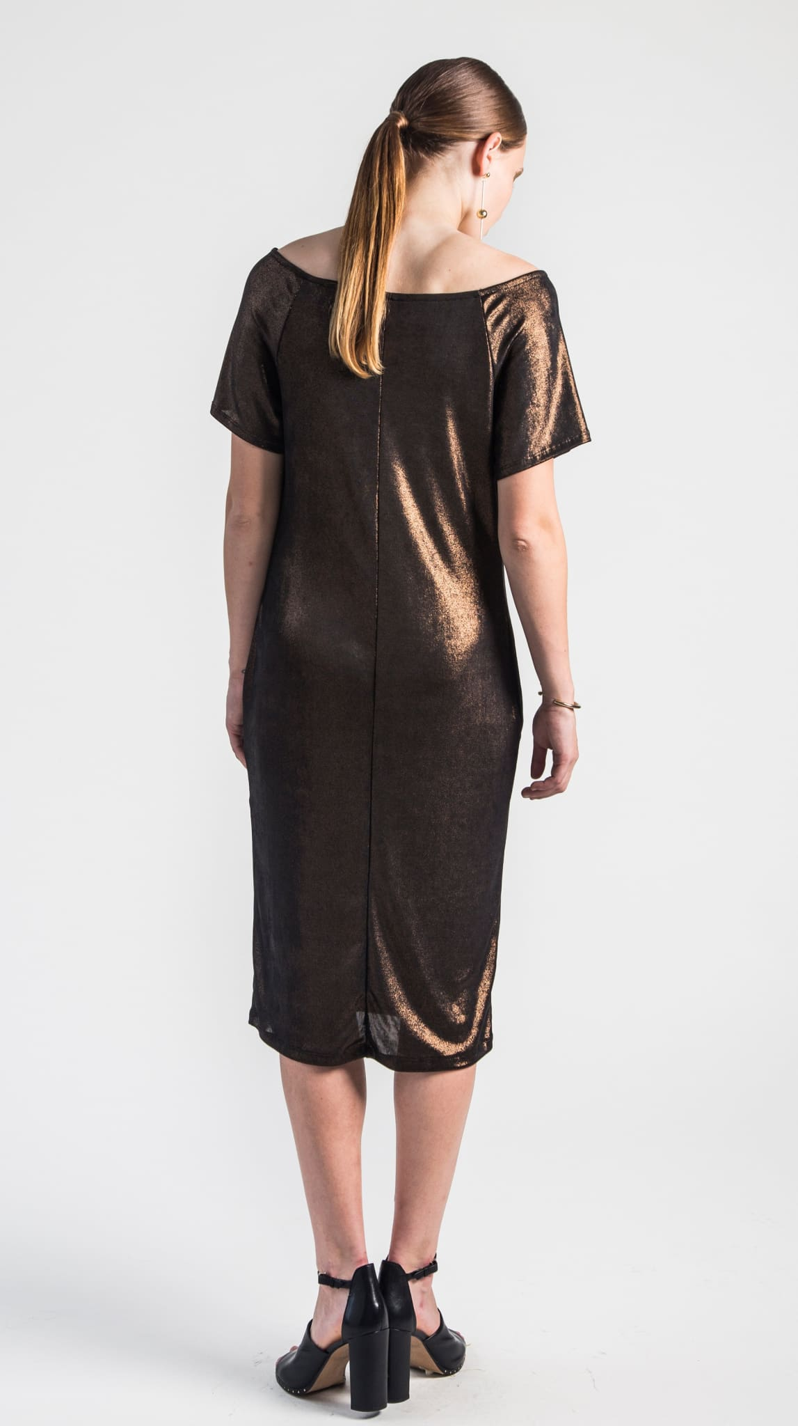 Bronze Rhea Raglan Sleeve Dress back by VARYFORM for Nineteenth Amendment