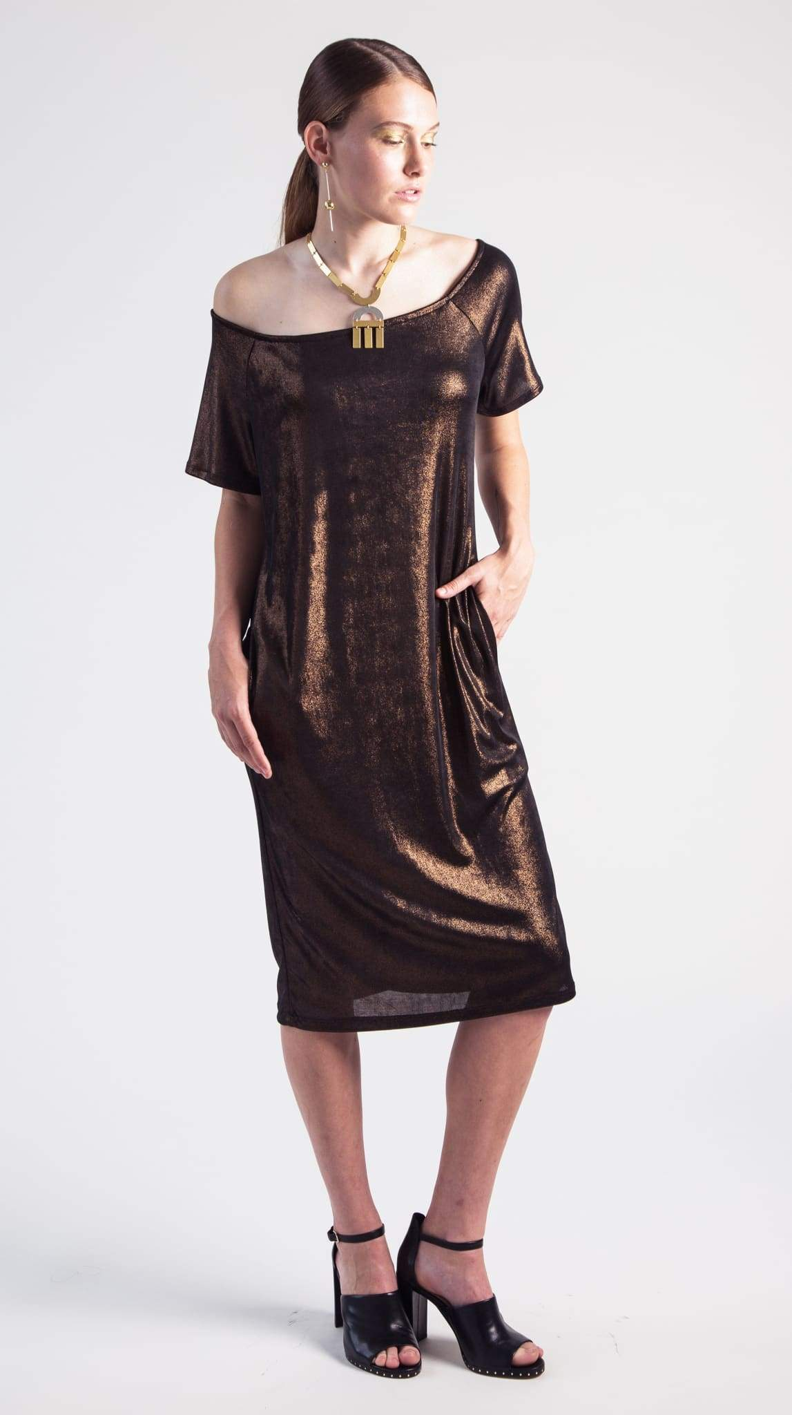 Bronze Rhea Raglan Sleeve Dress flatlay by VARYFORM for Nineteenth Amendment