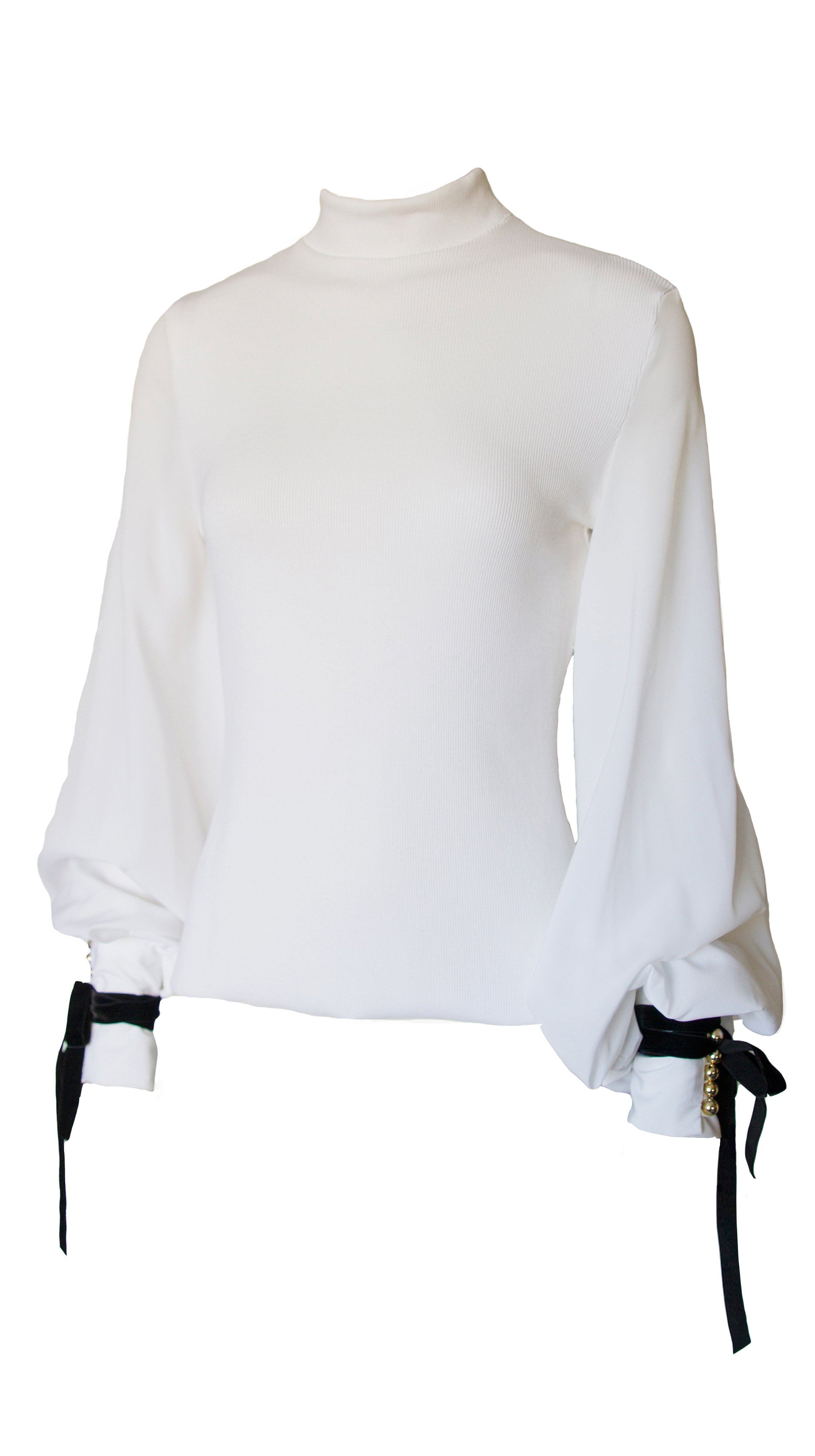 white Rib Knit Bellsleeve Blouse by Leetal Platt Made in new york | Nineteenth Amendment