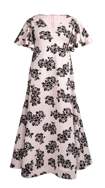 Pink Black Rose Print Rosy Gown by Nerecina | Plus Size Bridal and Formal | Nineteenth Amendment