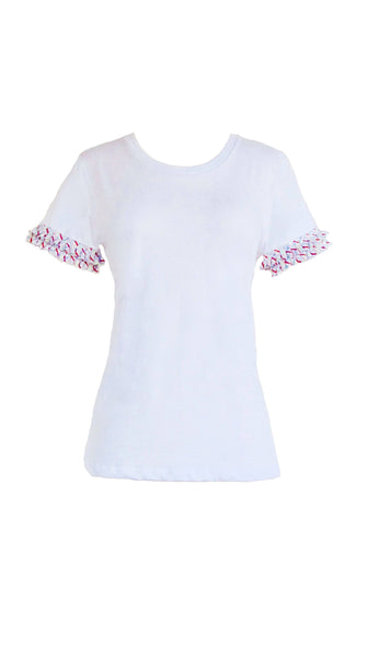 Rufflemania Frill Top White Embellished T Shirt by Bespoke Southerly | Nineteenth Amendment
