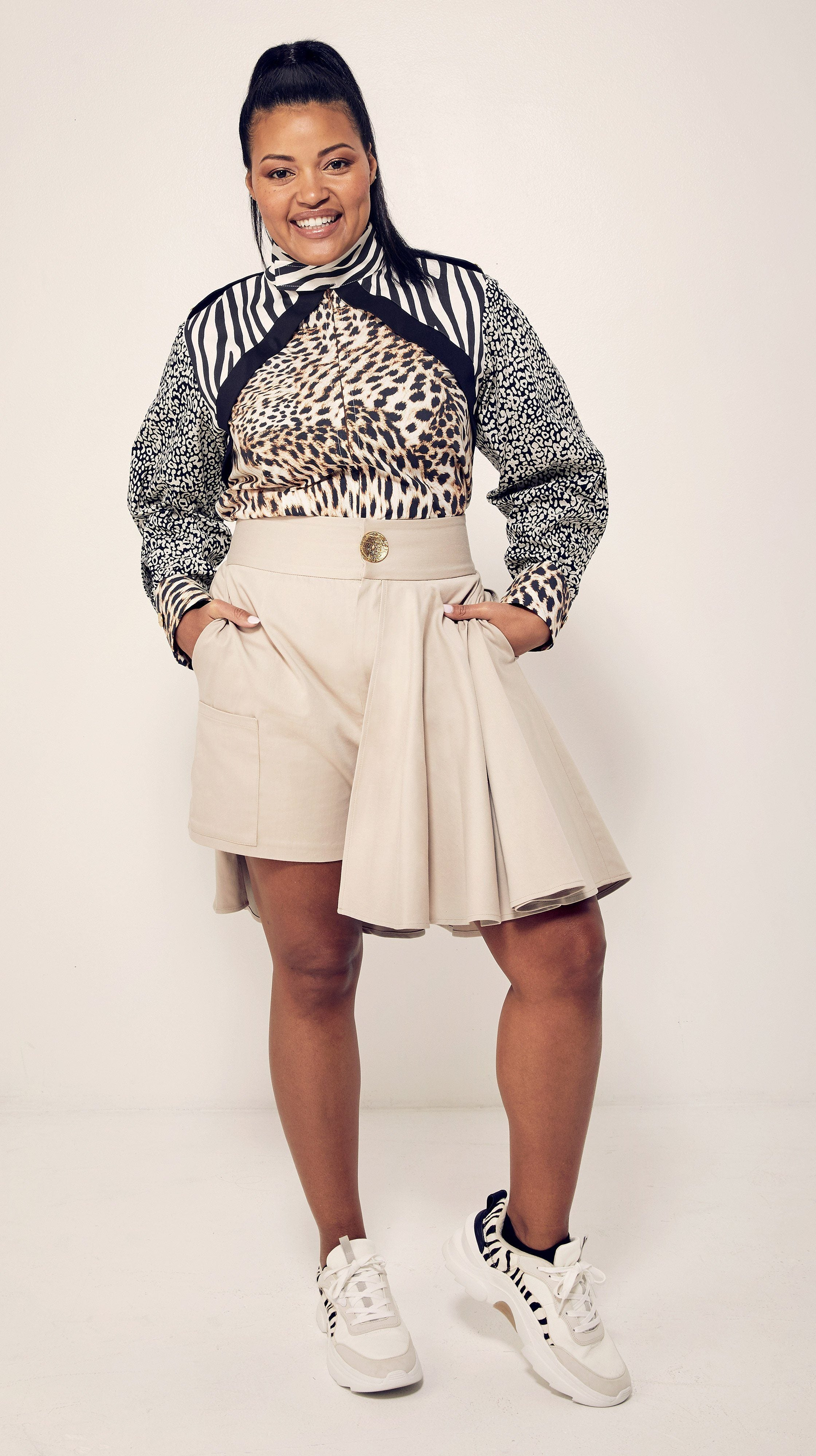 Beige Safari Skort by Marquise Foster of Bravo's Project Runway | Nineteenth Amendment