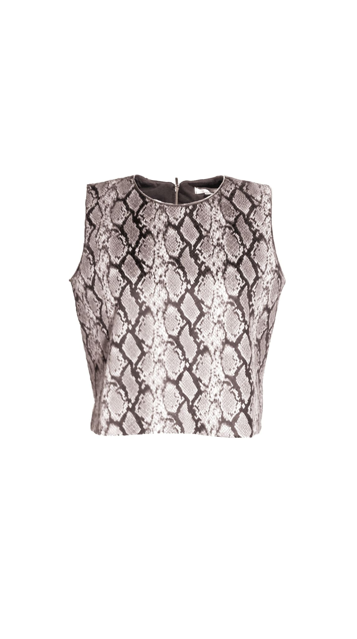 Brown Vegan Snake Skin Top by Chanho Jang | Nineteenth Amendment
