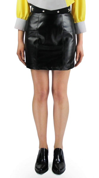 Star Leather Mini Skirt