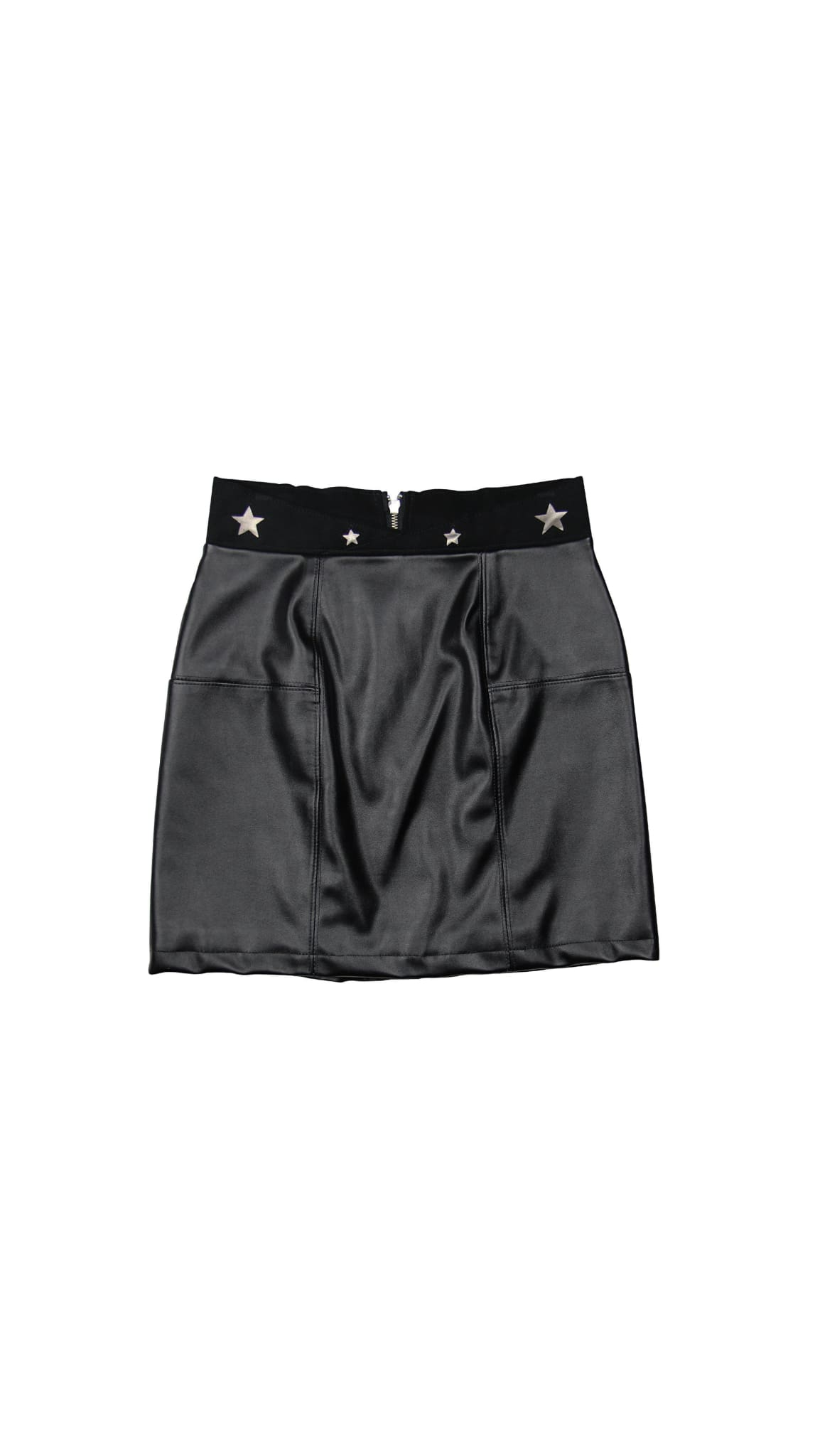 Black Vegan Leather StarMini Skirt by Meghan Hughes | Nineteenth Amendment