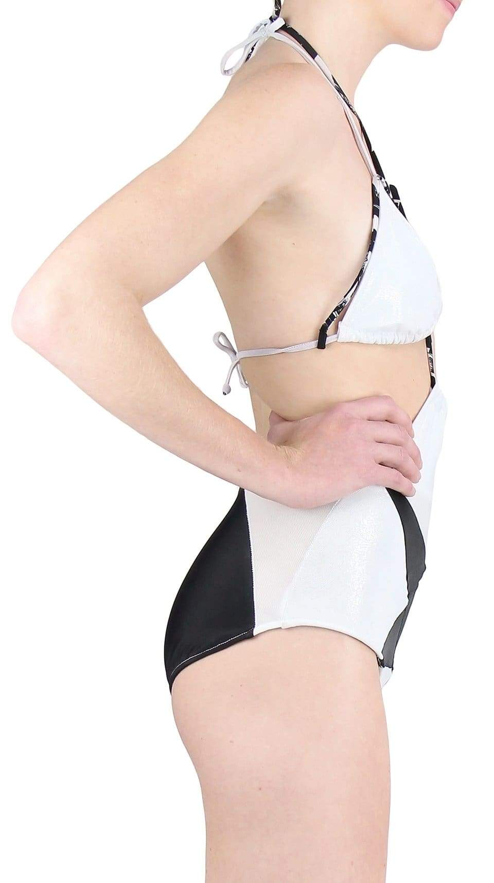 White and black star Starfish Delphina Swimsuit Bottoms Recycled Material Fabric by Rosina Mae Nineteenth Amendment