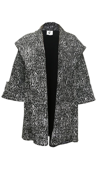 Black and White print Sweatshirt Pom Jacket by Lobo Mau | Nineteenth Amendment