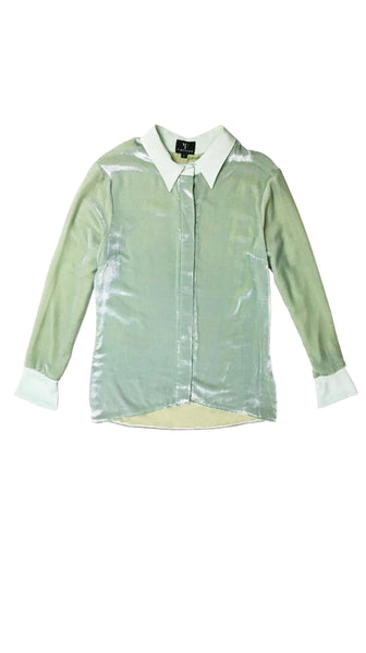 Talia Mint Velvet Button Down Womens Shirt by Varyform for Nineteenth Amendment sustainable luxury