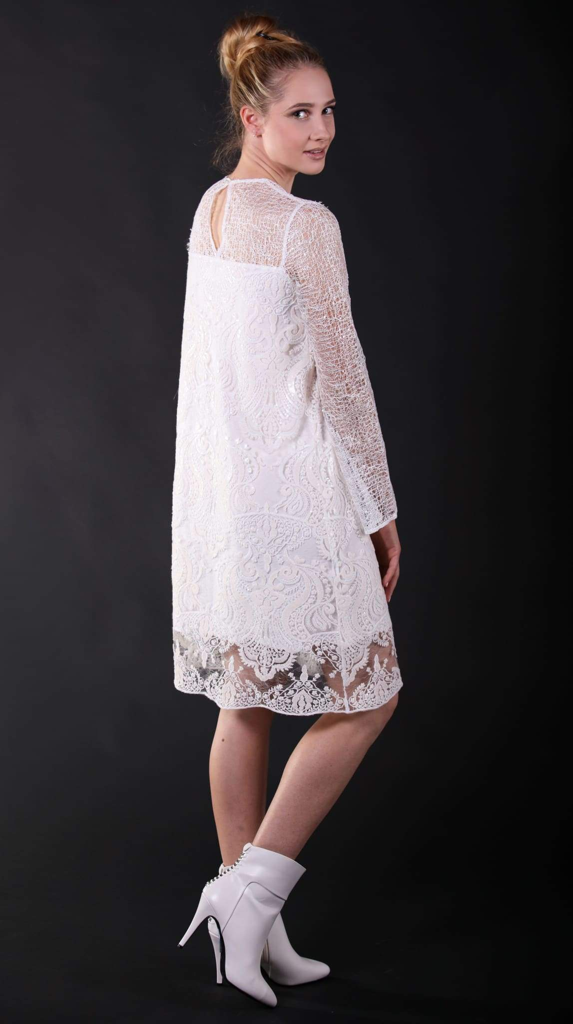 Thebe White Long Sleeve Lace Short Dress by San Francisco brand SF Couture sustainable fashion made in the USA | Nineteenth Amendment