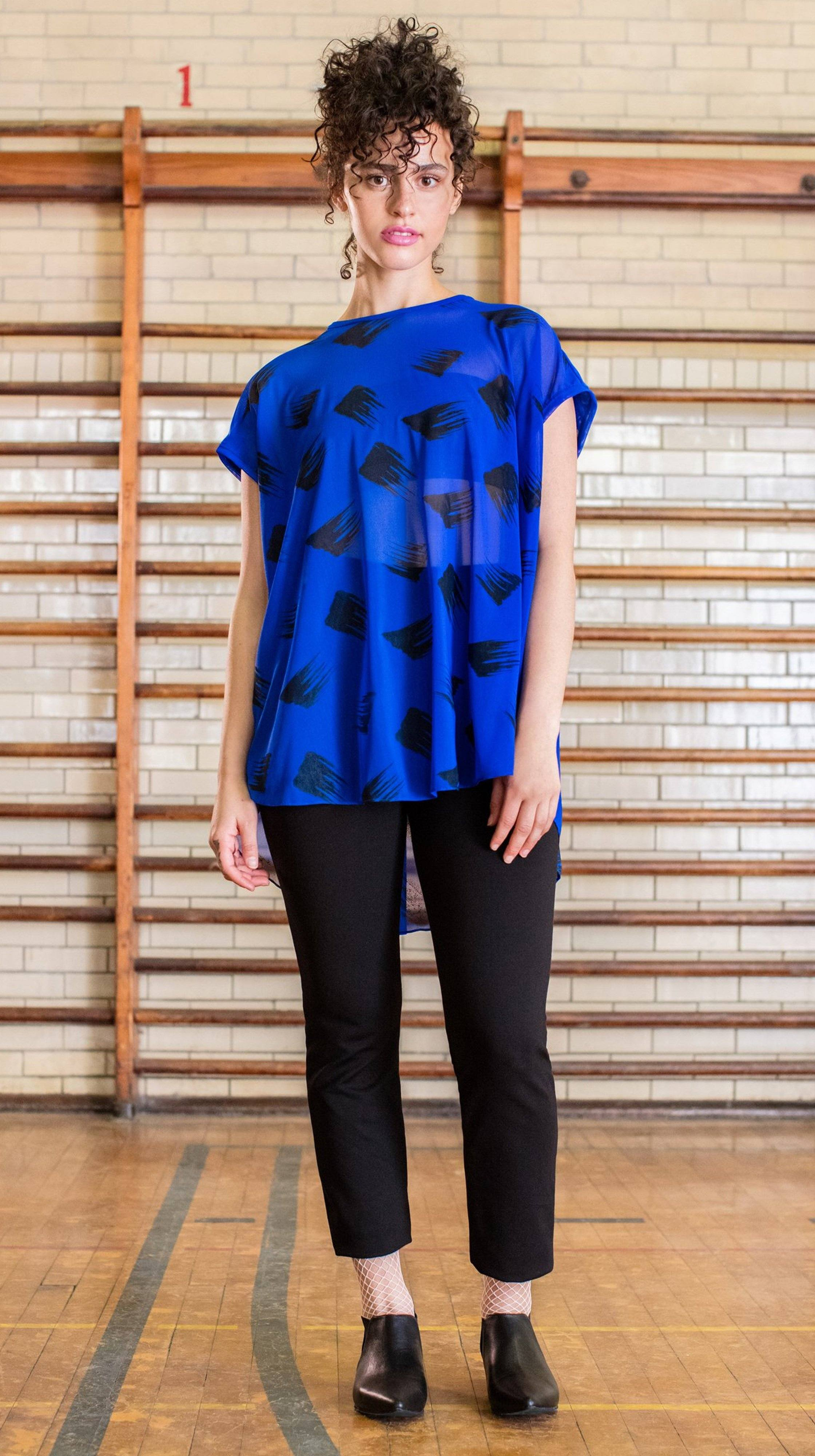 Blue and black transparent Printed Karl Top by Lobo Mau Made in Philadelphia | Nineteenth Amendment
