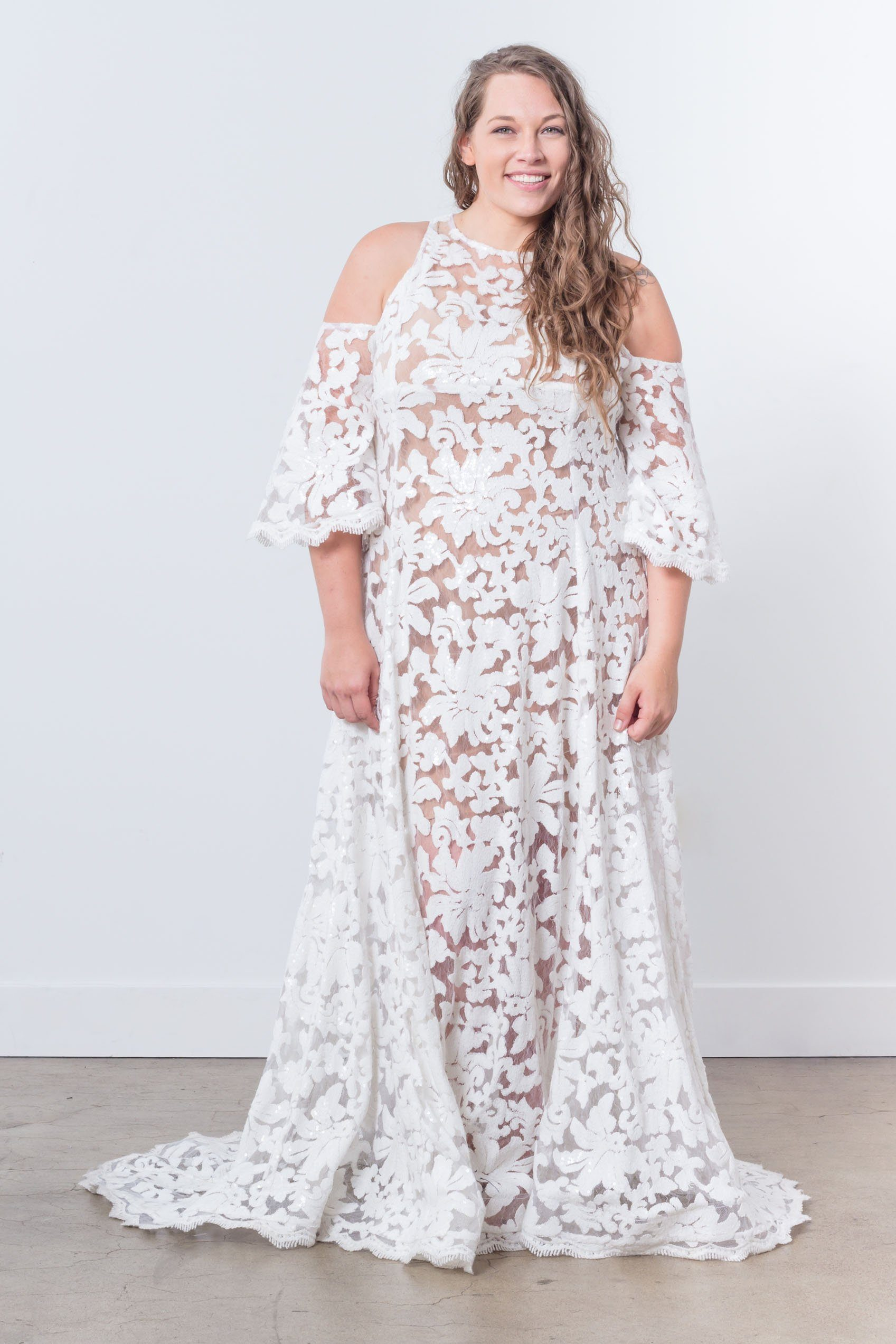 Nerecina Plus Size Venus Gown Bridal Formalwear Made in LA Nude Lace See through Nude gown long sleeve Cold shoulder