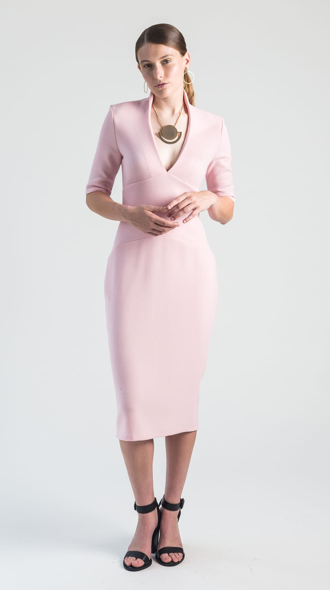 Pink Wool V Neck Venus Dress front by Varyform for Nineteenth Amendment