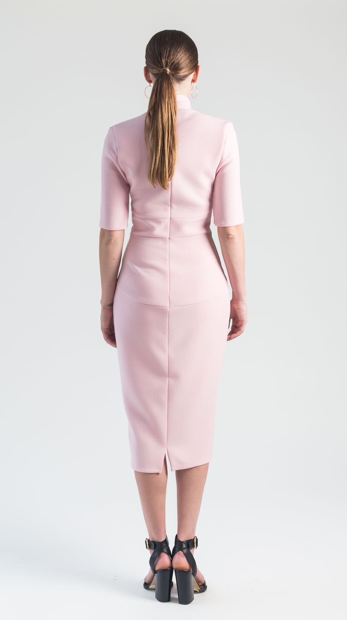 Pink Wool V Neck Venus Dress Back by Varyform for Nineteenth Amendment