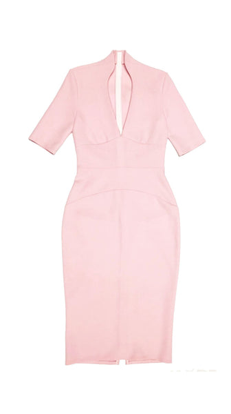 Pink Wool V Neck Venus Dress by Varyform for Nineteenth Amendment