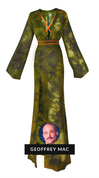 Front of Verdonna Green Tye Dye Silk Gown by Geoffrey Mac of Bravo's Project Runway | Nineteenth Amendment