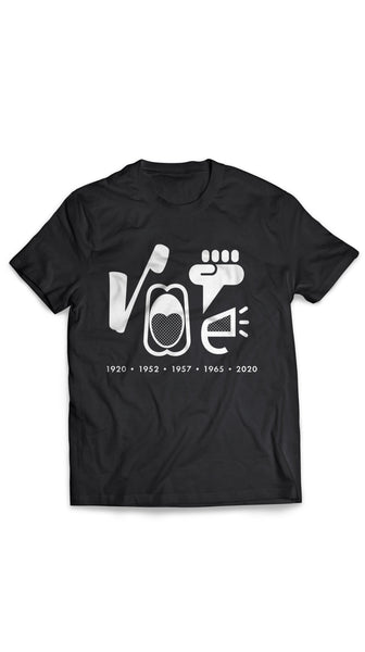 Black 19 Amendment Anniversary Unisex Vote T-Shirt by Nineteenth Amendment | Nineteenth Amendment