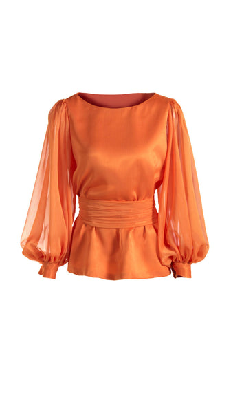 Waimea Orange Sheer Blouse by SF Couture | Nineteenth Amendment