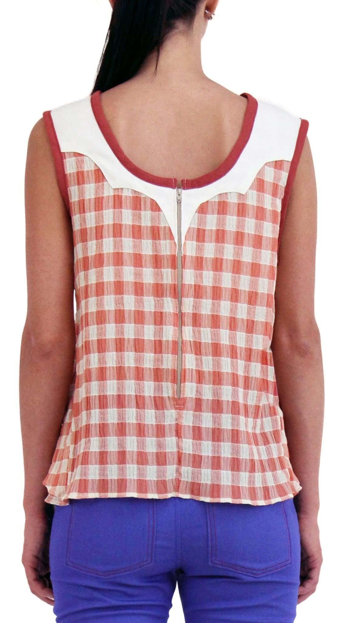 Western Red and White Check Layer Tank by Meghan Hughes Nineteenth Amendment