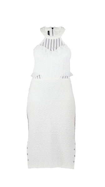 White Mixed Media halter high neck midi ruffle Dress by Meghan Hughes | Nineteenth Amendment