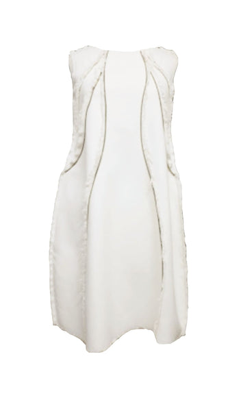 Sleeveless Beige off white Silk Zipper Panel Dress by Chanho Jang | Nineteenth Amendment
