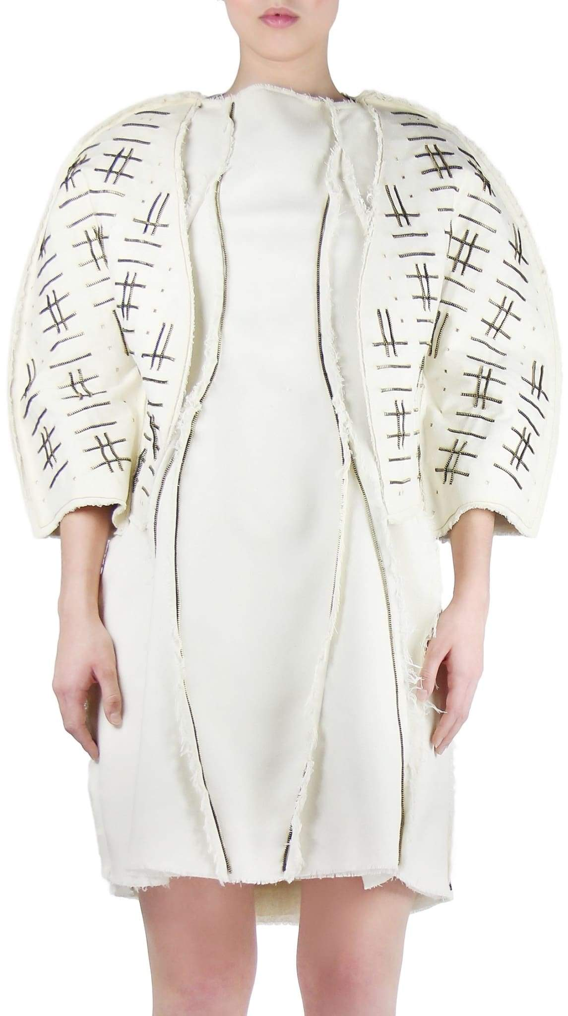 Beige Off White Raw Silk Zipper Weaved Jacket by Chanho Jang | Nineteenth Amendment