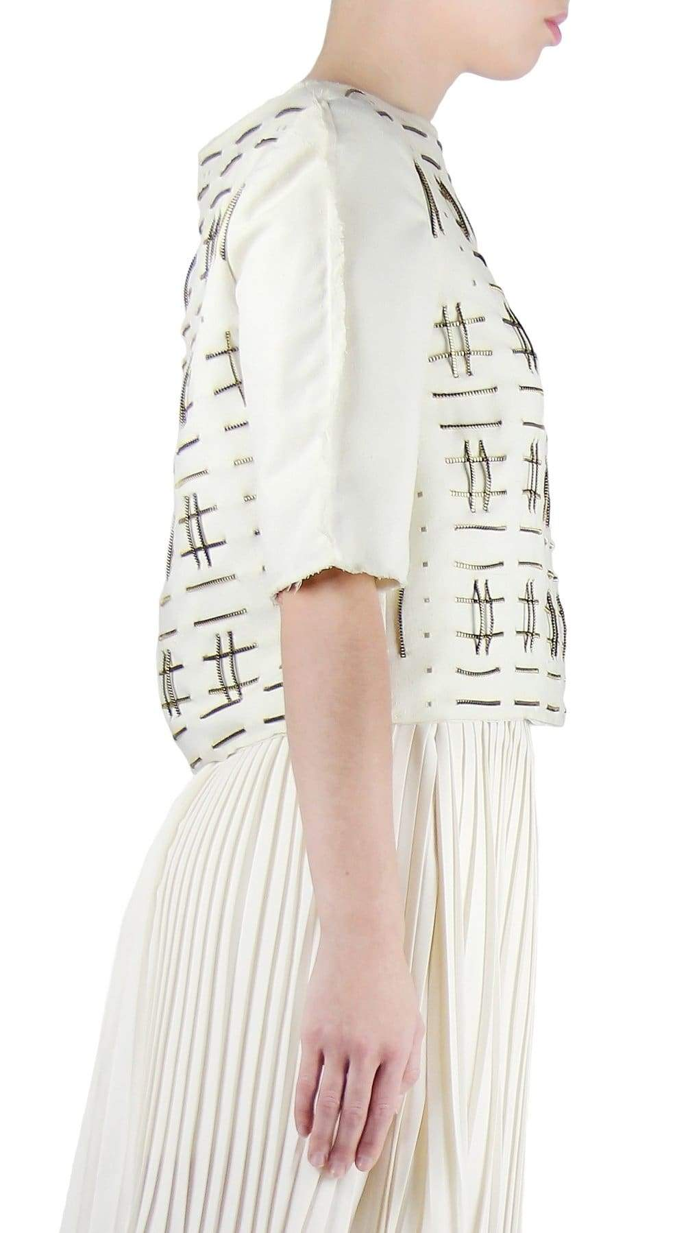 Beige Off White Raw Silk Zipper Weaved Top by Chanho Jang | Nineteenth Amendment