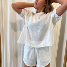 Amelina Short Sleeve Top in White Muslin