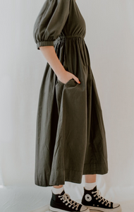 Zoey Midi Dress in Deep Green Poplin