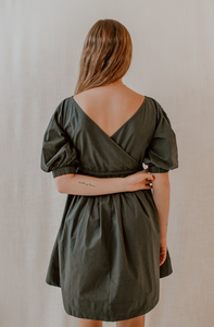 Zoey Mini Dress in Deep Green Poplin