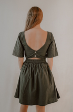 Paola Mini Dress in Deep Green Poplin