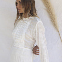Aslyn Dress in White Textured Cotton