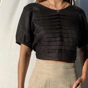 Carmel Top in Black Linen