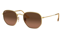Ray-Ban Hexagonal Flat Lenses Gold Brown Gradient  10% OFF RRP