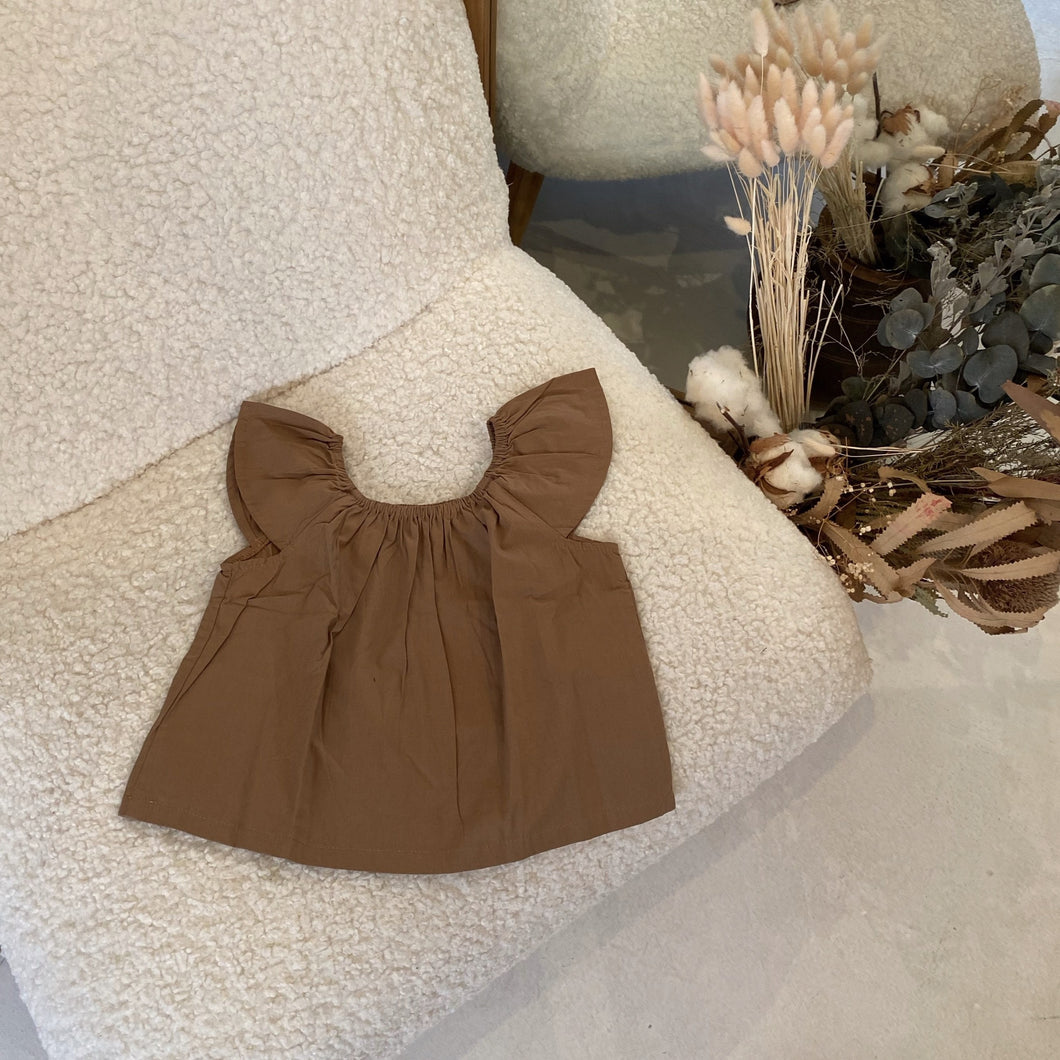 Moon Child Ayla Top in Milk Chocolate Poplin