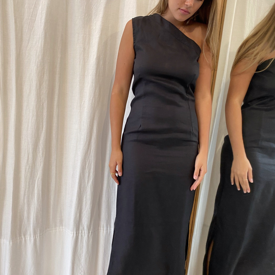 Safi Maxi Dress in Black Linen
