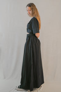 Paola Maxi Dress in Deep Green Poplin