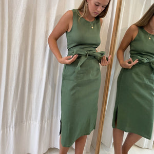 Aluna Midi Dress in Forest Linen