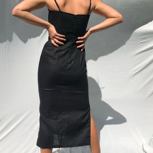 Amalia Dress in Black Linen