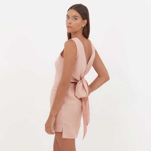 Aluna Mini Dress in Pink Sand Linen