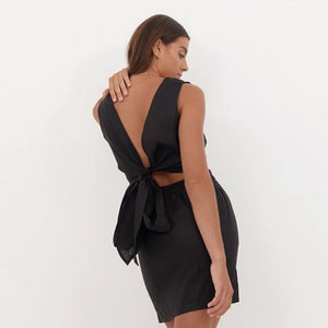 Aluna Mini dress in Noir Linen