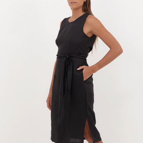 Aluna Midi Dress in Black Linen