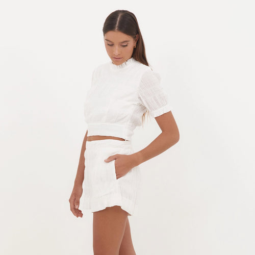 Ally Shorts in White Textured Cotton
