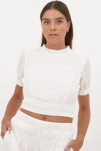 Ally Top in White Textured Cotton