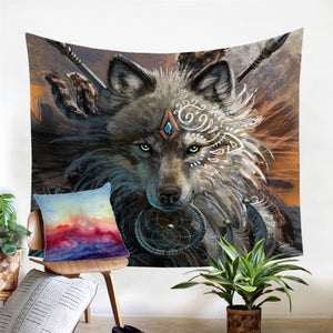 Wolf Warrior Tapestry Native American Wall Hanging