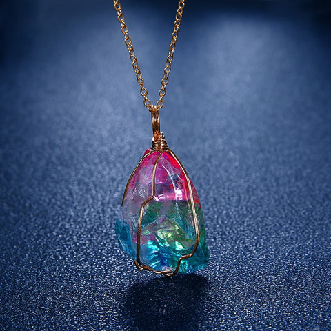 Rainbow Aura Cleansing Quartz Pendant