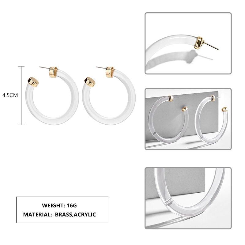 Round Acrylic Hoop Earrings