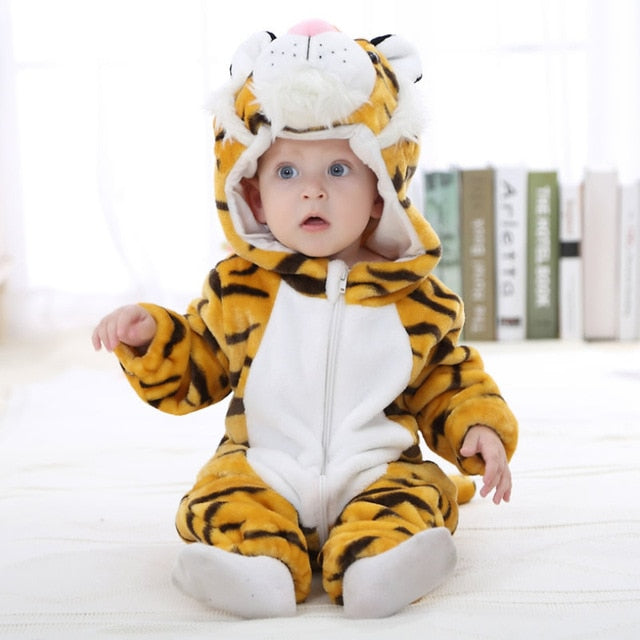 Yellow Tiger Style Full Sleeve Hooded Romper